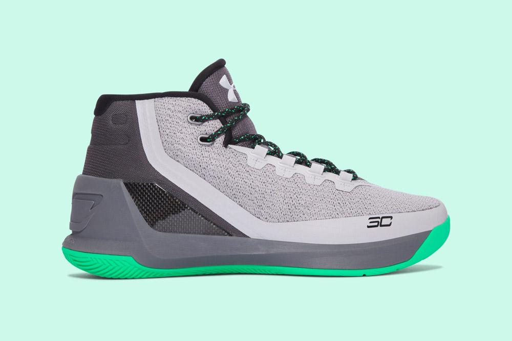 Under Armour Curry 3 — basketbalové boty — kotníkové — pánské — tenisky — sneakers — šedé, zelená podrážka (grey, green)