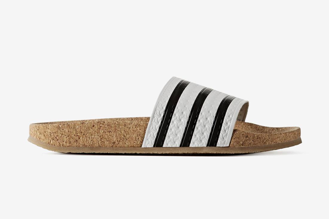 adidas Originals adilette Cork — korkové pantofle — slides — dámské — černo-bílé — nazouváky na léto