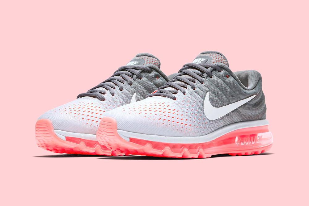 Nike Air Max 2017 — dámské běžecké boty — sneakers — tenisky — šedé, růžovo-oranžové (pink, orange, lava, grey)
