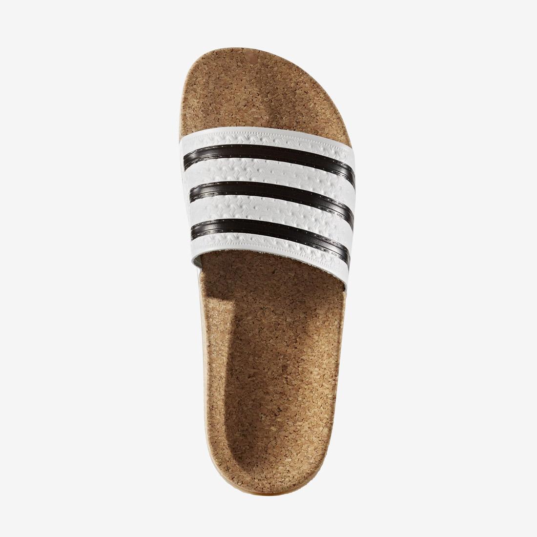 adidas Originals adilette — korkové pantofle — slides — dámské — černo-bílé — nazouváky na léto