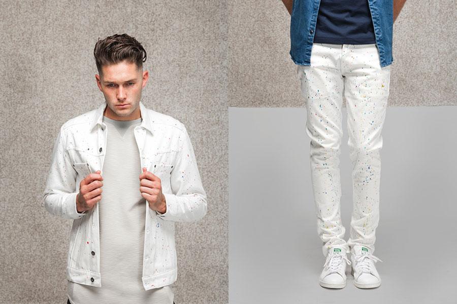 Publish — bílá džínová bunda s barevnými skvrnami — bílé kalhoty s barevnými skvrnami — lookbook jaro 2017