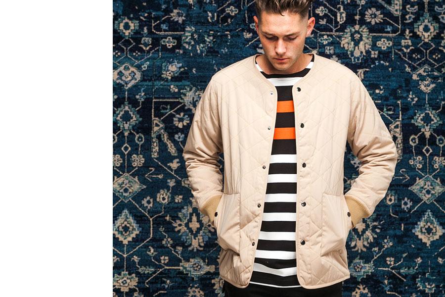 Publish — jarní prošívaná bunda bez límce — černo-bílé pruhované tričko — lookbook jaro 2017