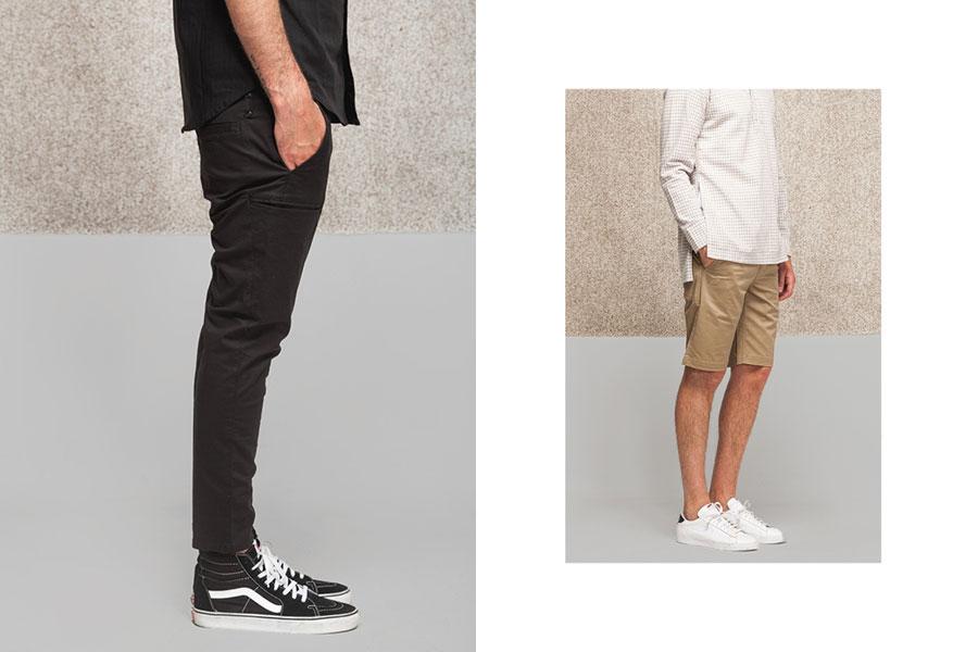 Publish — pánské černé kalhoty — béžové šortky, kraťasy — lookbook jaro 2017