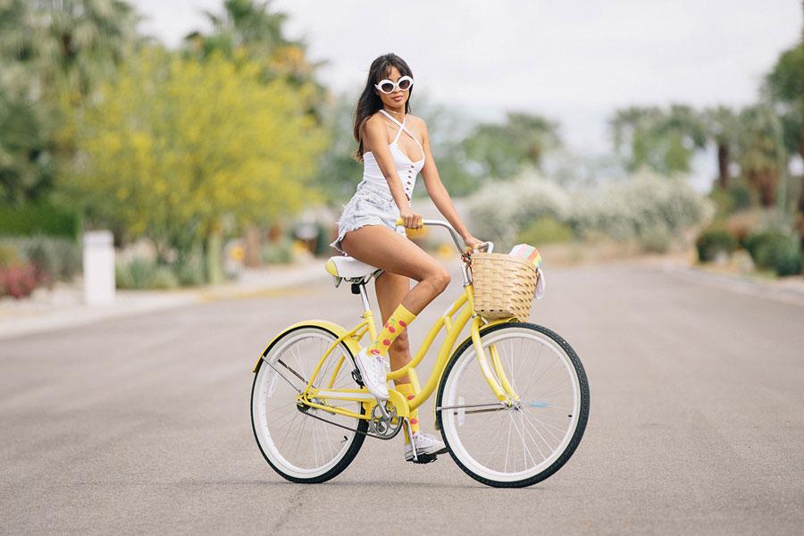 Happy Socks — žluté ponožky — dámské — vysoké — bavlněné — lookbook jaro/léto 2017
