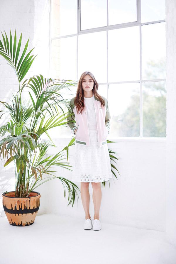Bench — dámský bomber zeleno-růžový — bílá průsvitná sukně