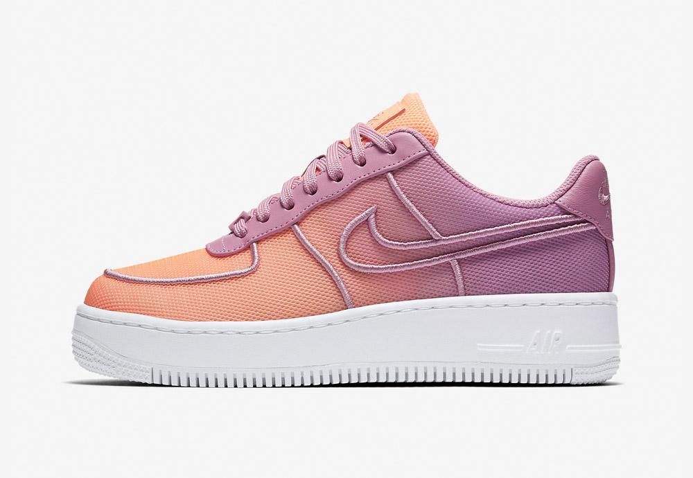 Nike Air Force1 Low Upstep BR — dámské tenisky na platformě — oranžové/fialové