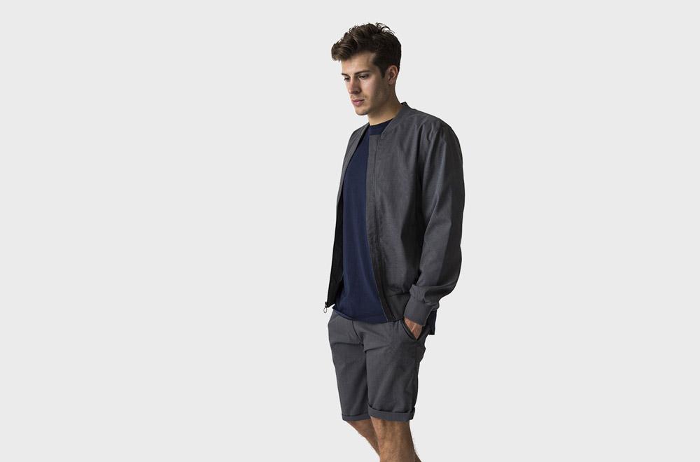 RVLT — tmavě šedý pánský letní bomber — tmavě šedé pánské šortky