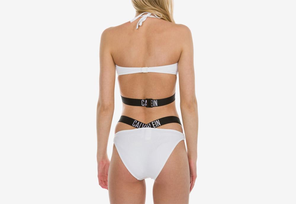 Calvin Klein — dámské plavky — Intense Power X — dvoudílné — bikiny — logo — Bandeau Bikini Top — Bikini Bottom — bílé