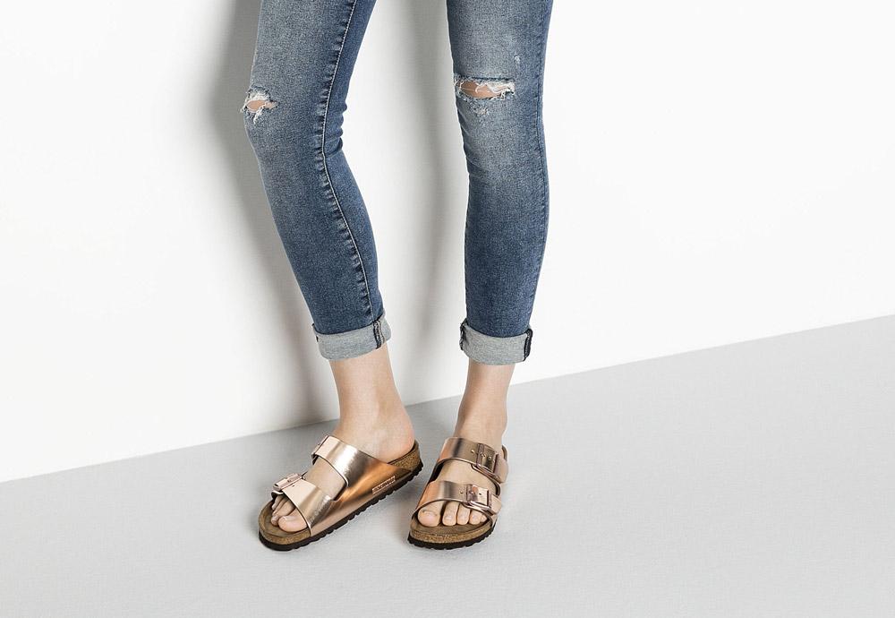 Birkenstock — korkové pantofle — Arizona — dámské — kožené — měděné — metalické — Metallic Copper