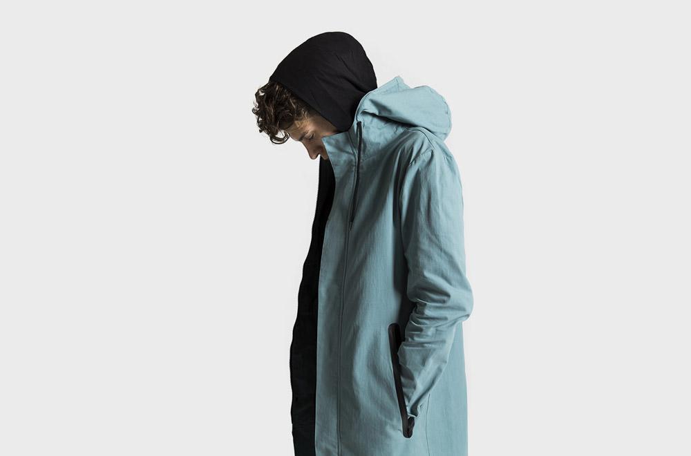 RVLT — modro zelená fishtail parka — jarní/letní — pánská — dlouhá bunda s kapucí