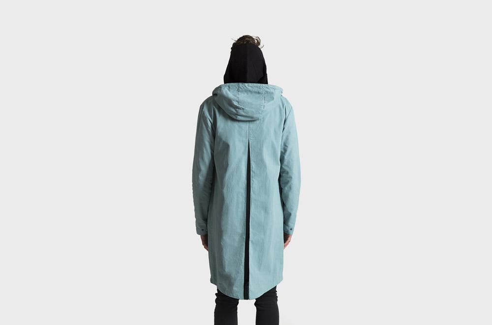 RVLT — dlouhá bunda s kapucí — jarní/letní — pánská — modro zelená fishtail parka
