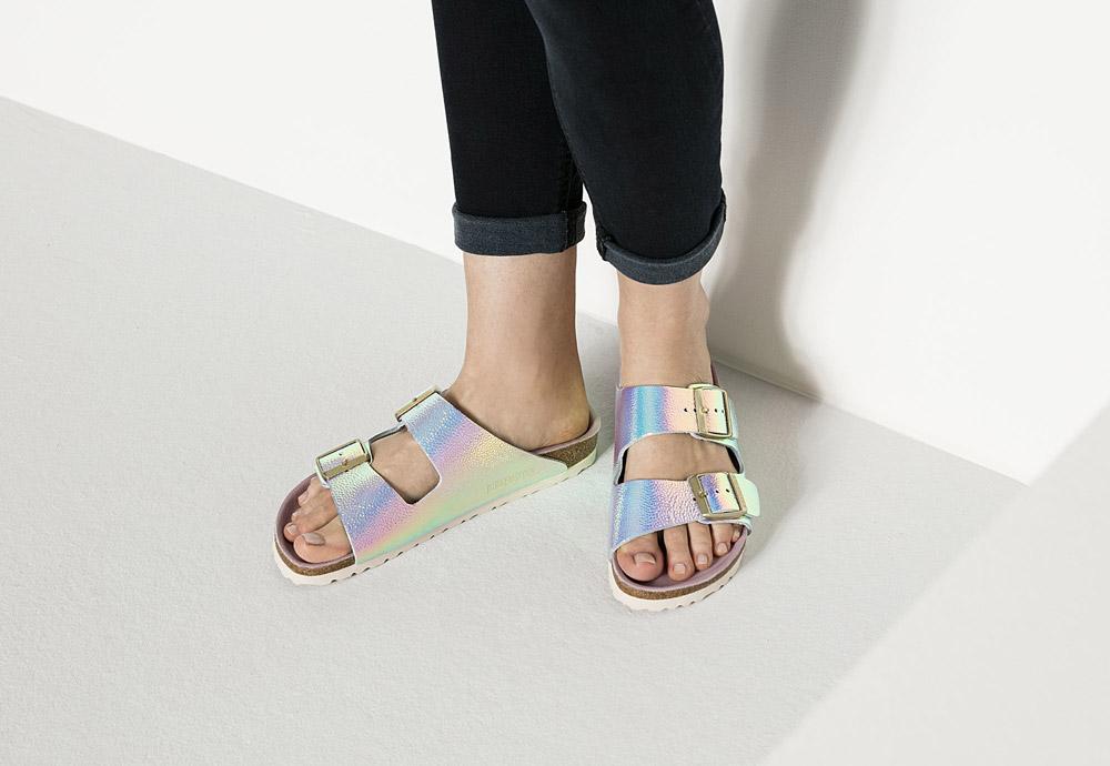 Birkenstock — korkové pantofle — Arizona — dámské — kožené — duhové — perleťové — Ombre Pearl Silver Orchid