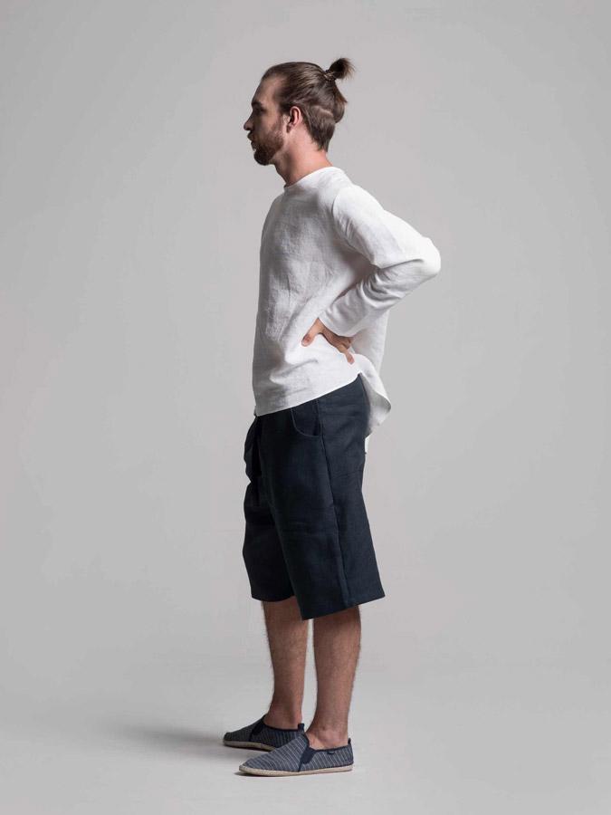 K.BANA — pánské lněné šortky (tmavě modré) — pánská lněná košile (bílá)
