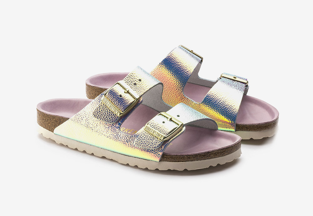 Birkenstock — korkové pantofle — Arizona — dámské — kožené — duhové — metalické — Ombre Pearl Silver Orchid