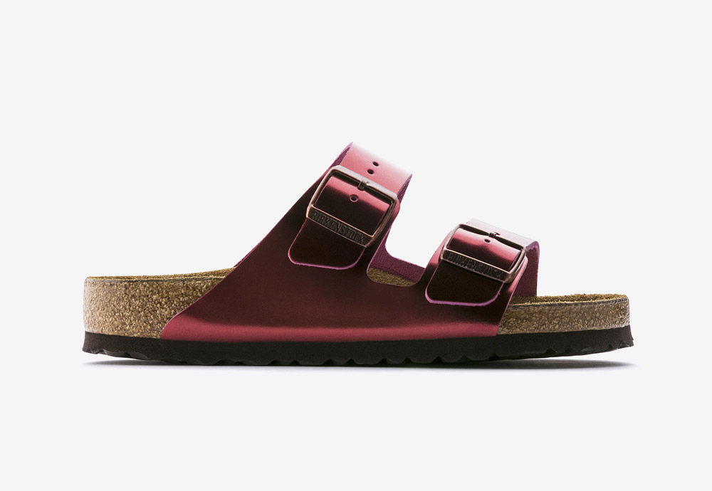Birkenstock — korkové pantofle — Arizona — dámské — kožené — červené, turmalínové — metalické — Metallic Tourmaline