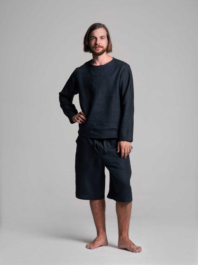 K.BANA — pánská lněná košile (tmavě modrá) — pánské lněné šortky (tmavě modré)