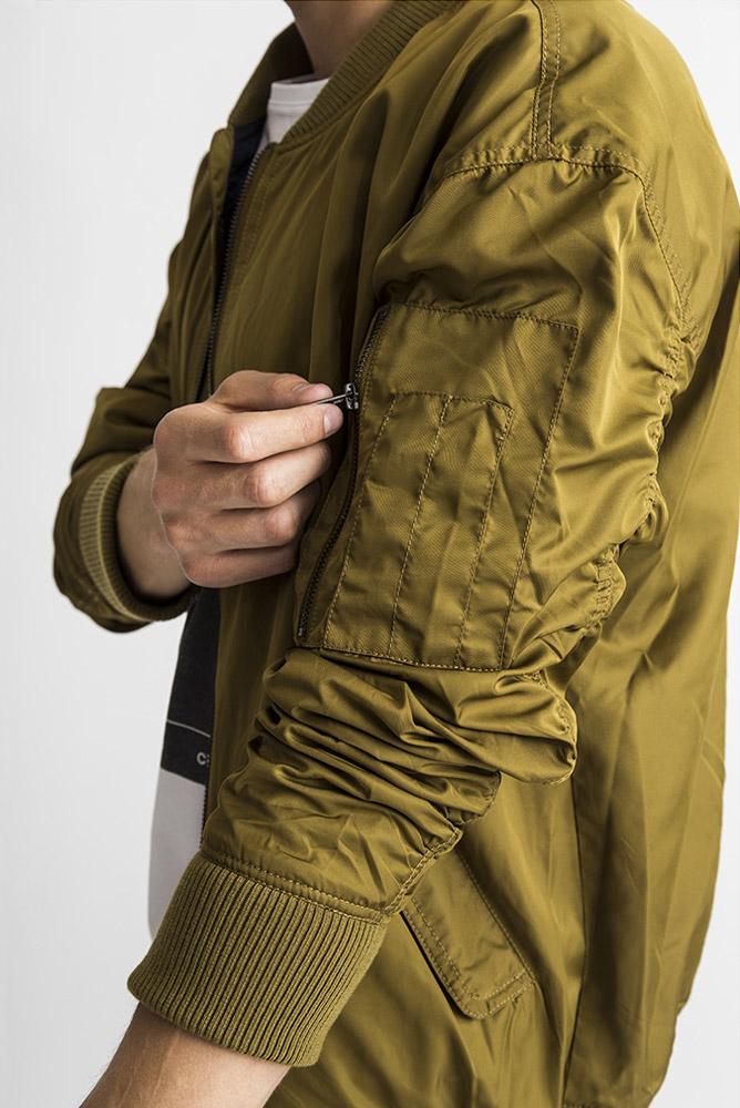 RVLT — hnědo-zelená bunda do pasu bez kapuce