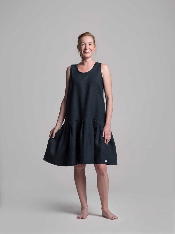 K.BANA — lněné letní šaty — tmavě modré — dámské