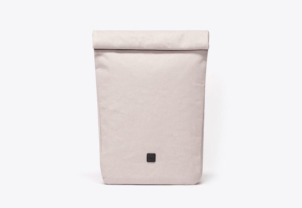 Ucon Acrobatics — batoh — roll-top — krémový, šedý — veganský z celulózy a bavlny — Albert Backpack — kolekce Paper