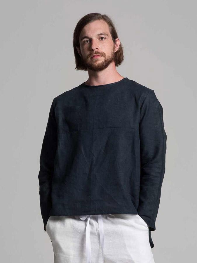 K.BANA — pánská lněná košile — tmavě modrá