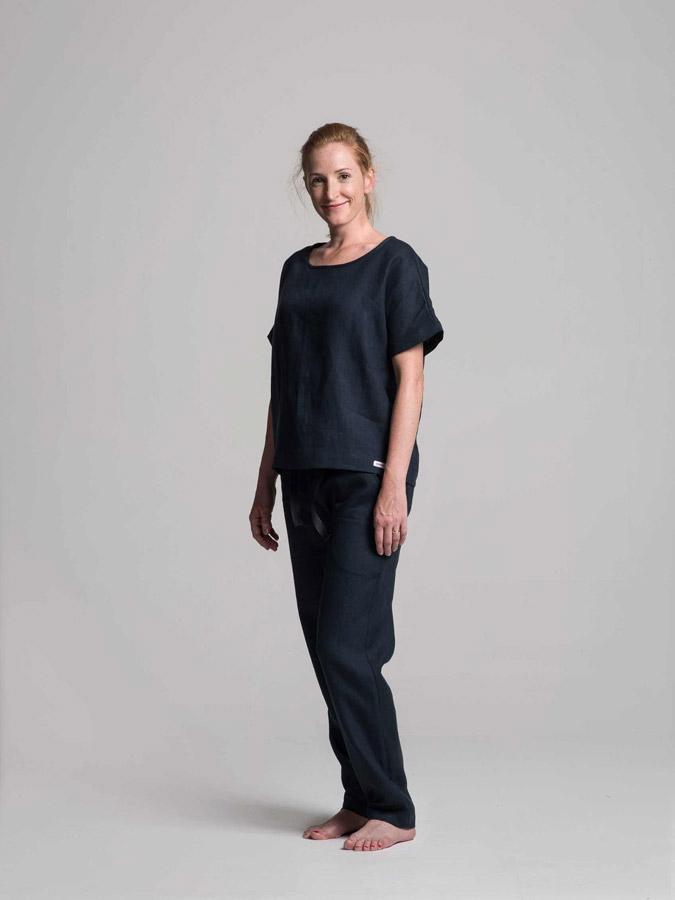 K.BANA — dámské lněné kalhoty (tmavě modré) — dámská lněná halenka (tmavě modrá)