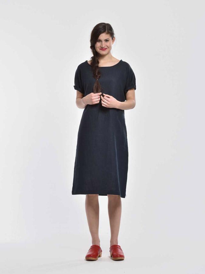 K.BANA — letní šaty pod kolena — krátké rukávy — tmavě modré — dámské