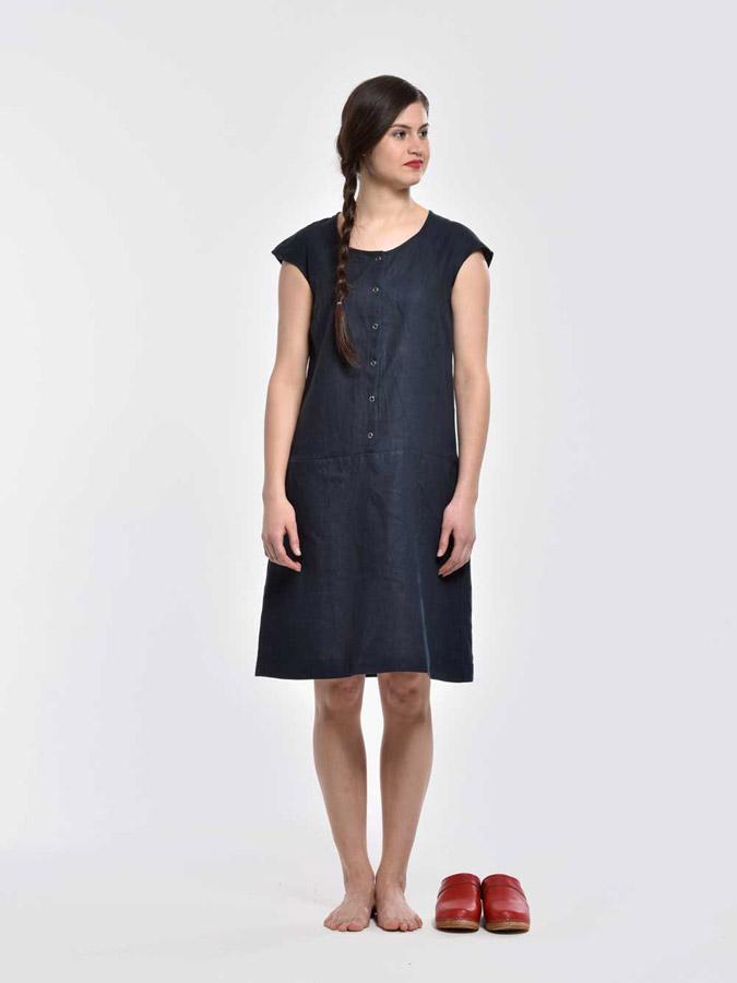 K.BANA — letní šaty pod kolena s knoflíčky — bez rukávů — tmavě modré — dámské