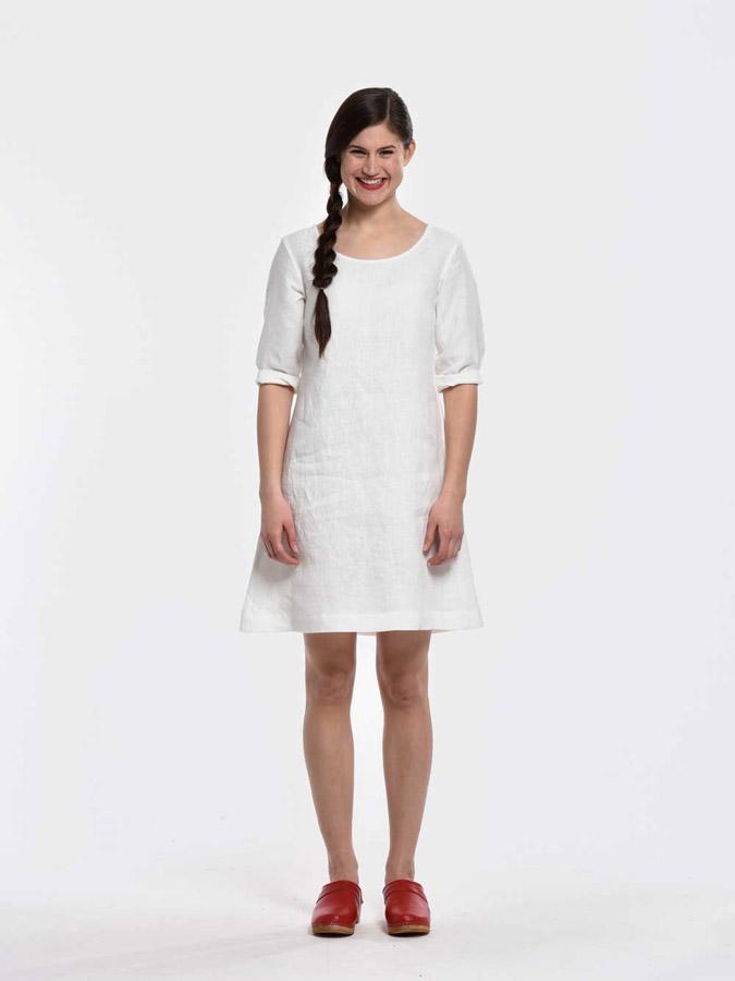 K.BANA — letní šaty nad kolena — krátké rukávy — bílé — dámské