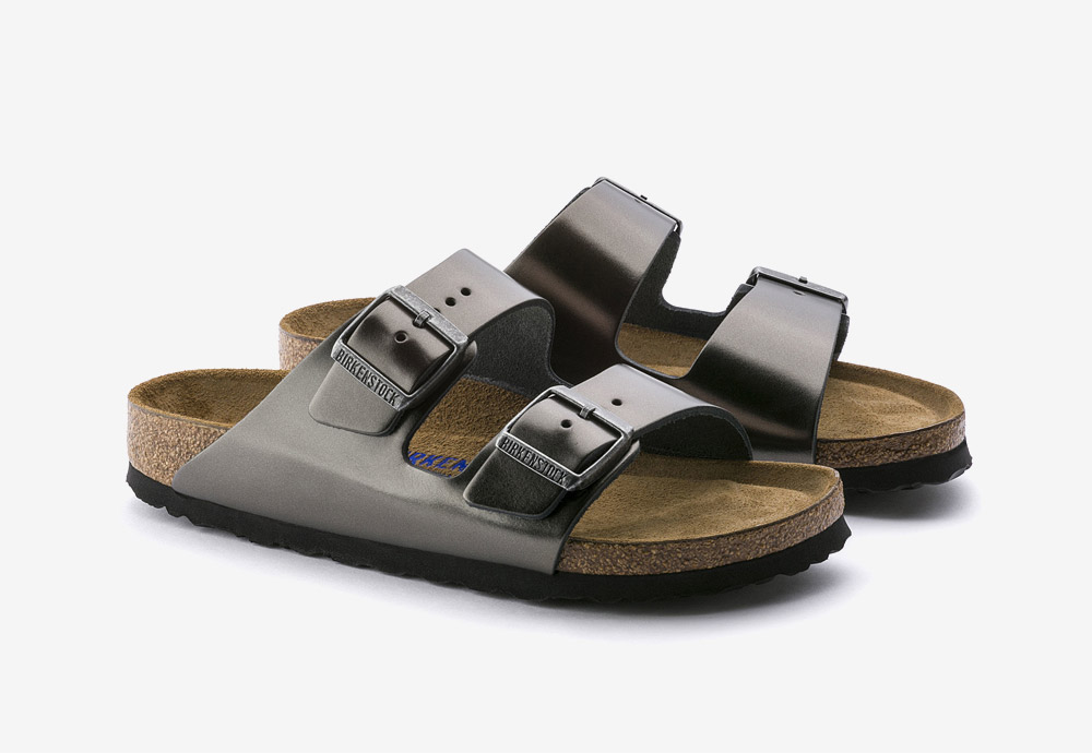 Birkenstock — korkové pantofle — Arizona — dámské — kožené — černé, antracitové — metalické — Metallic Anthracite