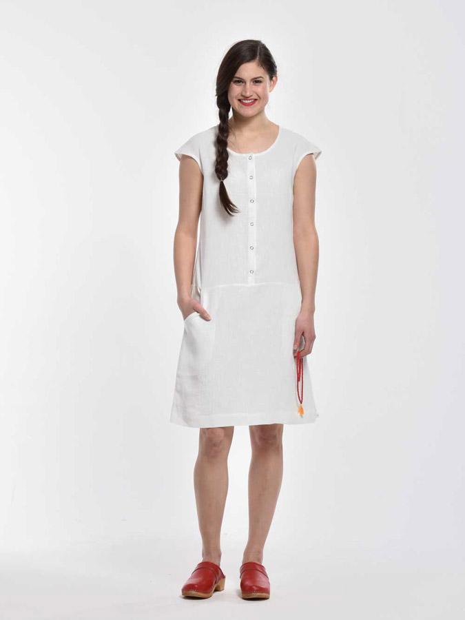 K.BANA — letní šaty nad kolena s knoflíčky — bez rukávů — bílé — dámské
