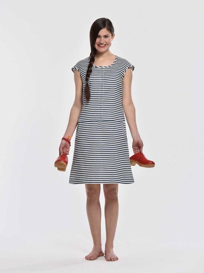 K.BANA — pruhované letní šaty nad kolena, s knoflíčky — modro-bílé — dámské