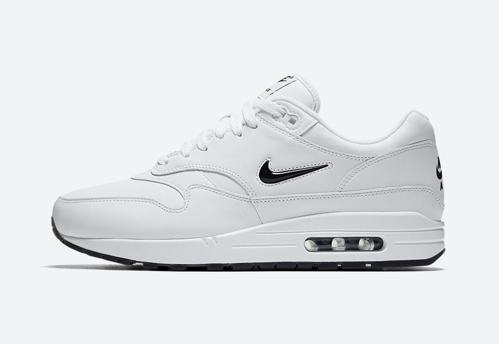 Nike Air Max 1 Premium Jewel White — Black Diamond / Rare Ruby
