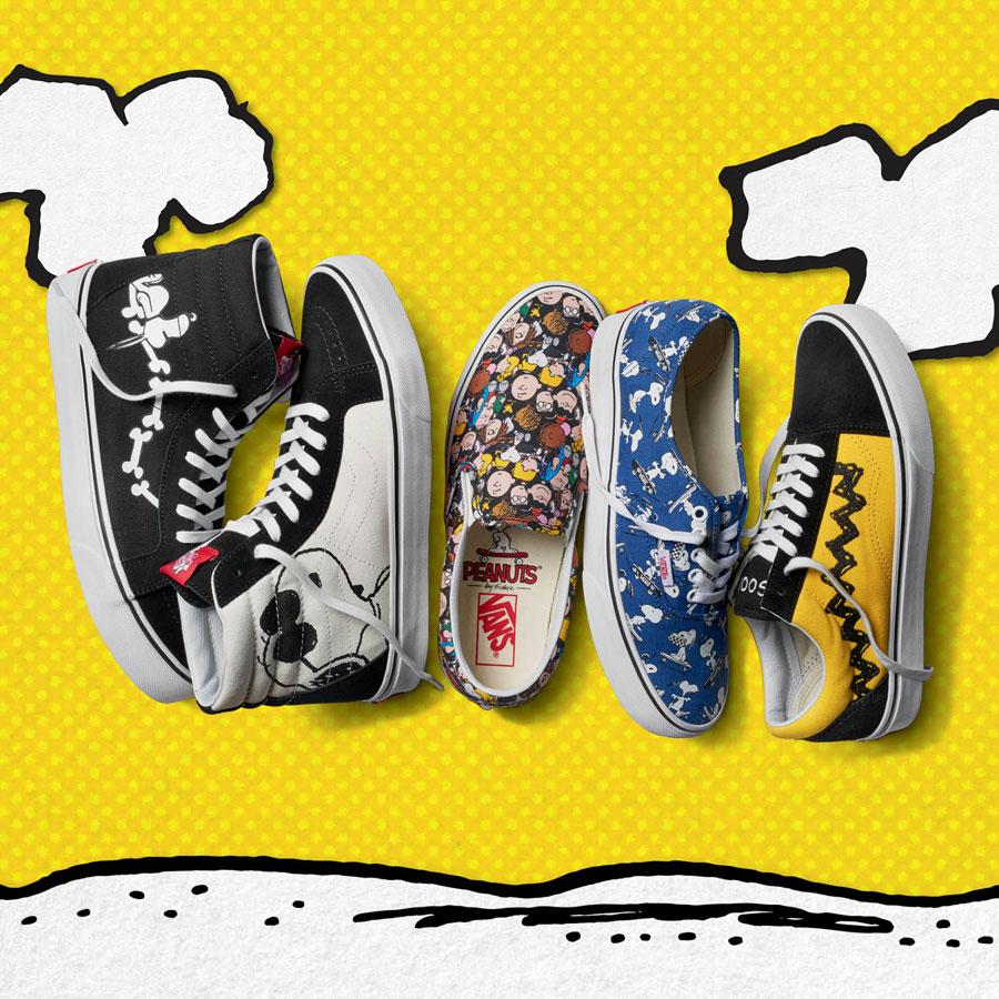 Vans x Peanuts — kotníkové boty Sk8-Hi Reissue — nízké tenisky Classic Slip-On, Authentic, Old Skool — Snoopy, Peanuts gang