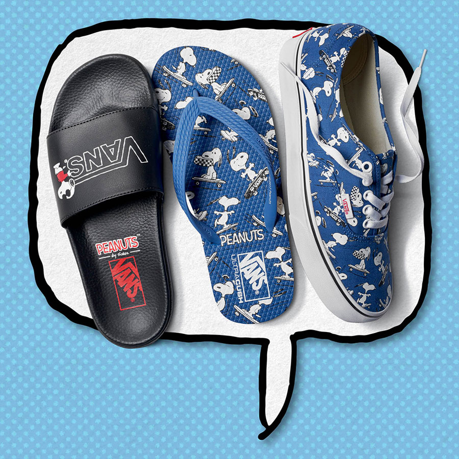 Vans x Peanuts — pantofle Slide-On Sandals — žabky Hanelei Flip-Flops — tenisky Authentic — Snoopy