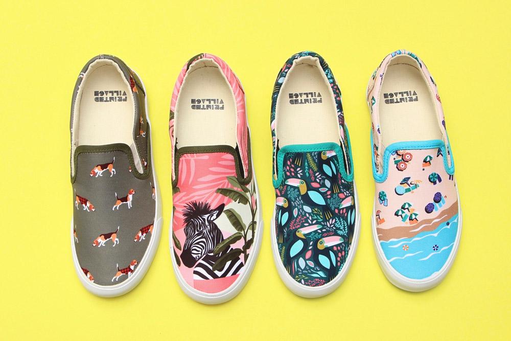 Inkkas — slip-on tenisky — fairtrade boty — sustainable — dámské, pánské — barevné, ilustrované