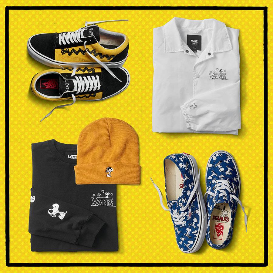 Vans x Peanuts — boty Old Skool, Authentic — černé tričko — bílá bunda s límečkem — Snoopy