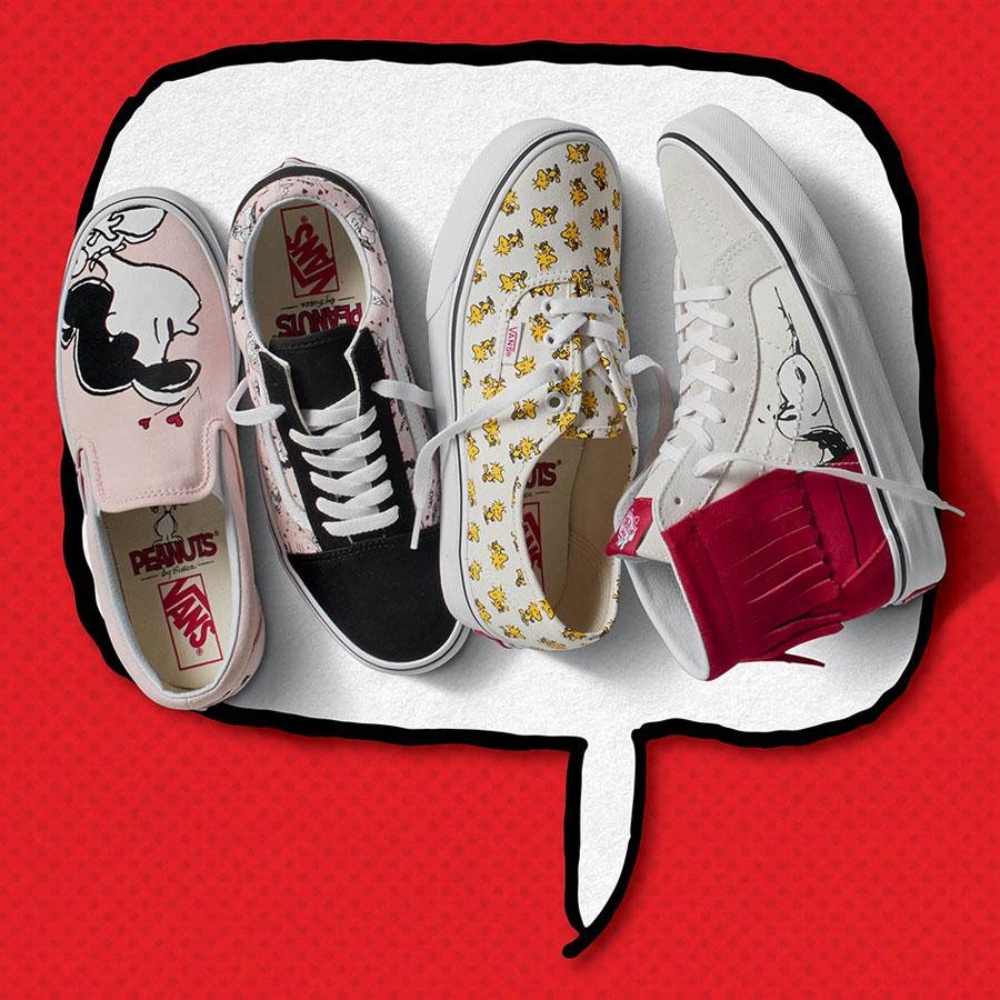 Vans x Peanuts — tenisky Classic Slip-On, Old Skool, Authentic — kotníkové boty, Sk8-Hi Moc — Snoopy