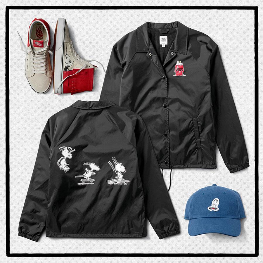 Vans x Peanuts — kotníkové boty, Sk8-Hi Moc — černá bunda s límečkem — kšiltovka — Snoopy