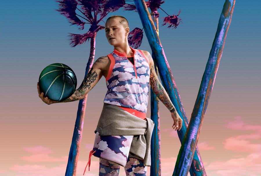 adidas StellaSport — dámské sportovní oblečení — podzim/zima 2017 — tílko s obláčky — legíny s obláčky