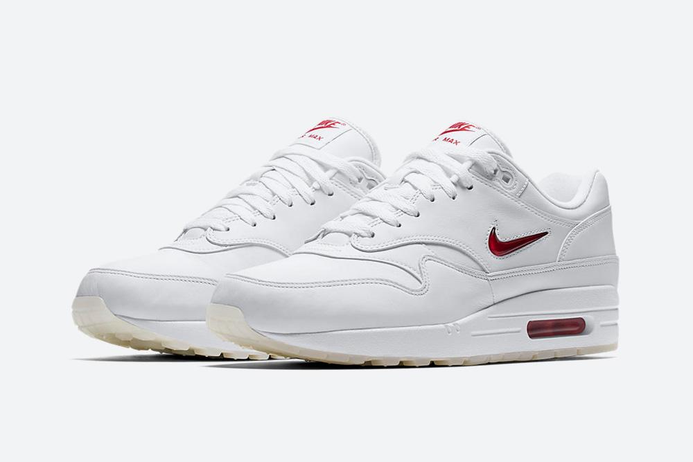 Nike Air Max 1 Premium Jewel White — Rare Ruby — tenisky — boty — sneakers — bílé — vzácný červený rubín