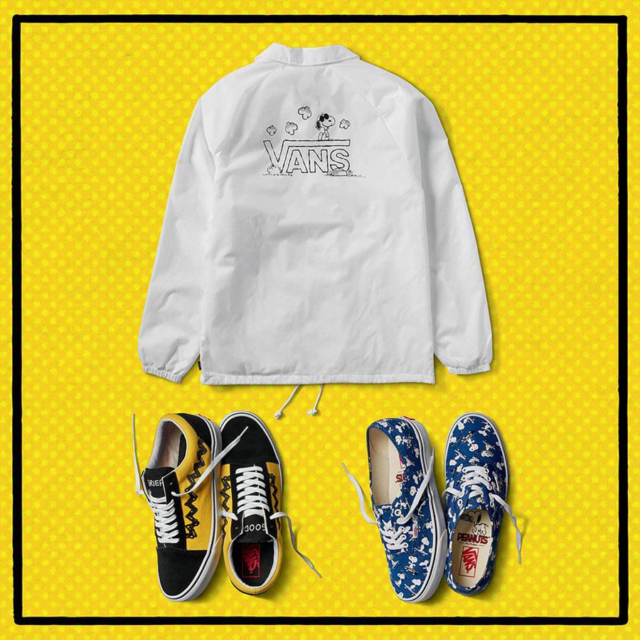 Vans x Peanuts — černo-bílý batoh — boty Old Skool, Authentic — bílá bunda s límcem — Snoopy