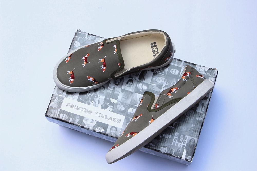 Inkkas — slip-on tenisky — fair trade boty — sustainable — dámské, pánské — šedé, ilustrované