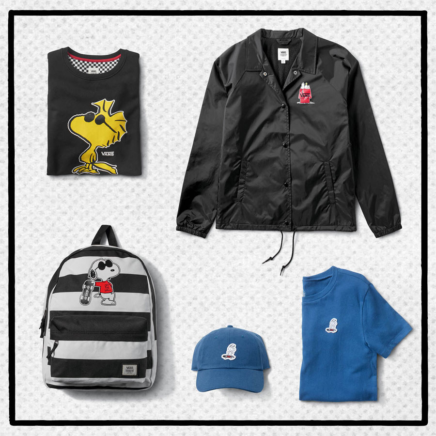 Vans x Peanuts — tenisky — černé tričko — černá bunda — modrá kšiltovka — modré tričko — Snoopy