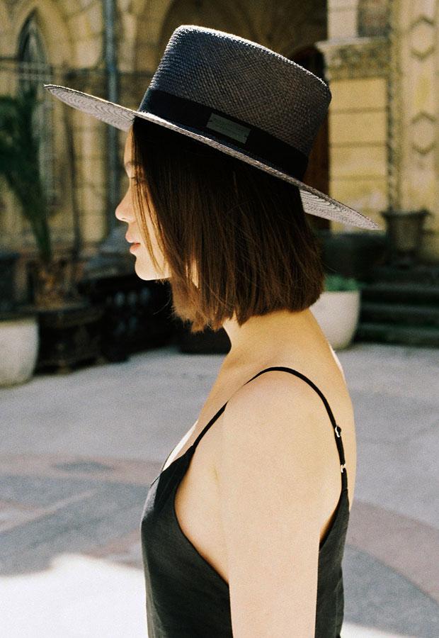 Paris+Hendzel — slaměný klobouk panama — dámský — letní — tmavě fialový