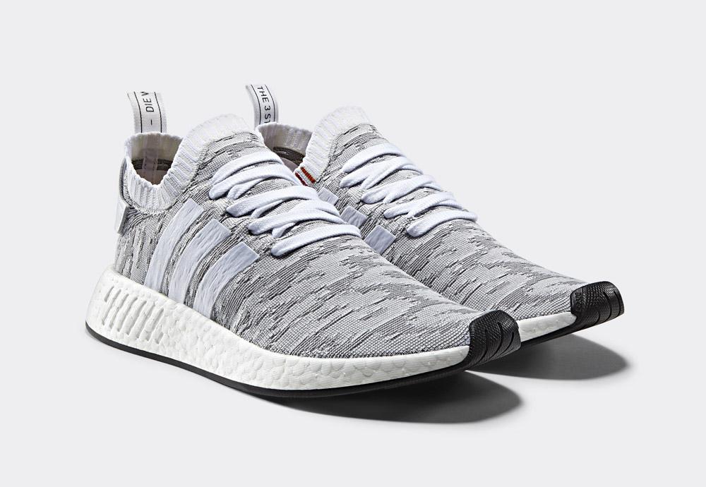 adidas Originals NMD_R2 Primeknit — boty — tenisky — sneakers — pánské, dámské — šedé
