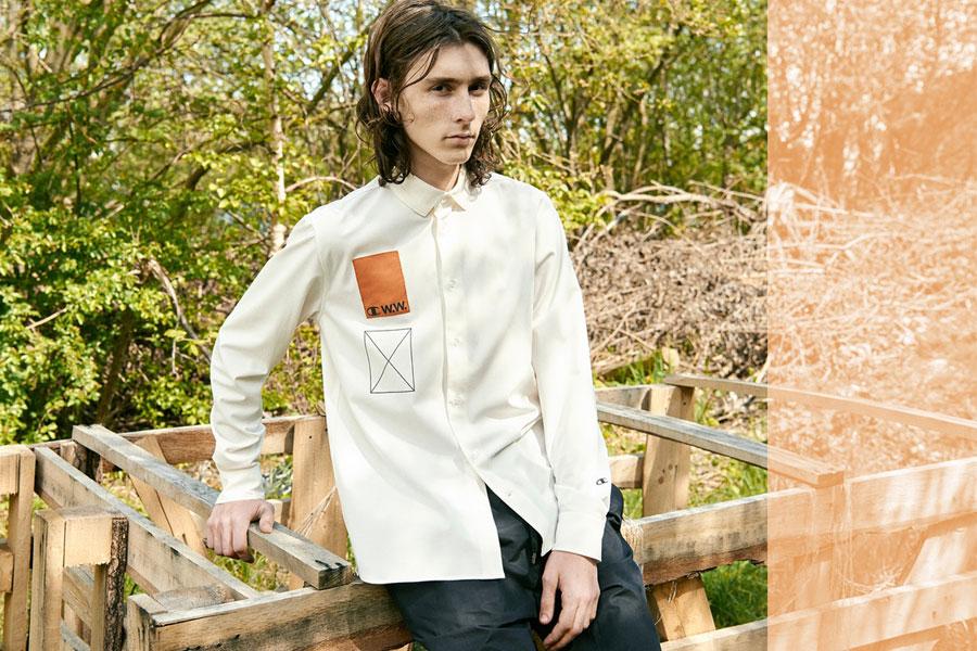 Champion x Wood Wood — pánská košile s dlouhým rukávem — bílá