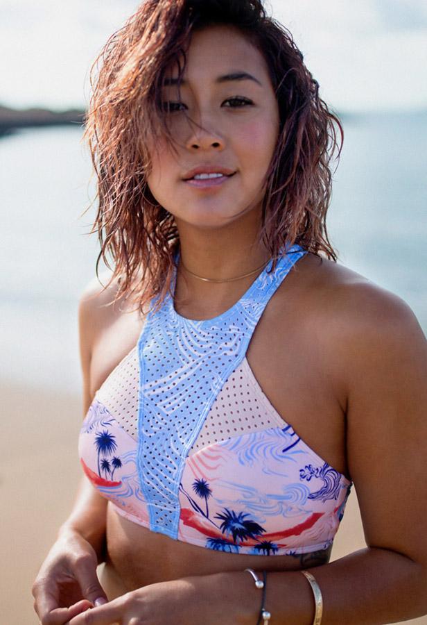 Roxy — dámské dvoudílné plavky, top — modro-růžové — surfařské — Pop Surf 2017 — swimwear