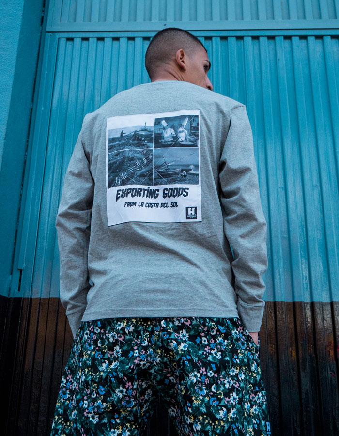 Hurthado Clo' — květinové šortky — pánské — tričko s dlouhým rukávem a nášivkou na zádech