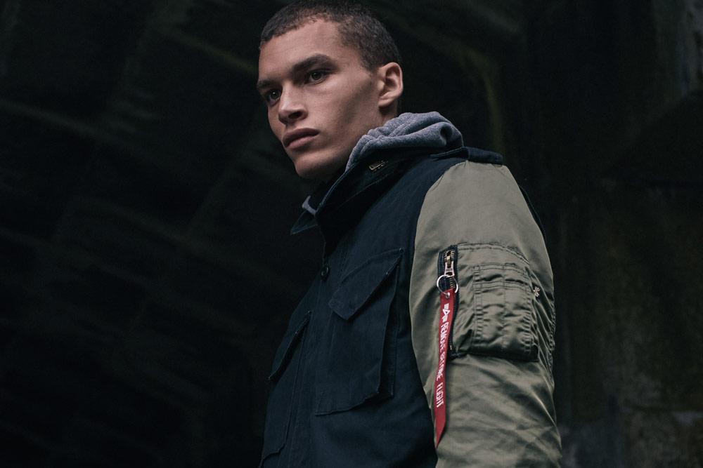 Alpha Industries — modro-zelená pánská bunda bez kapuce (army jacket)