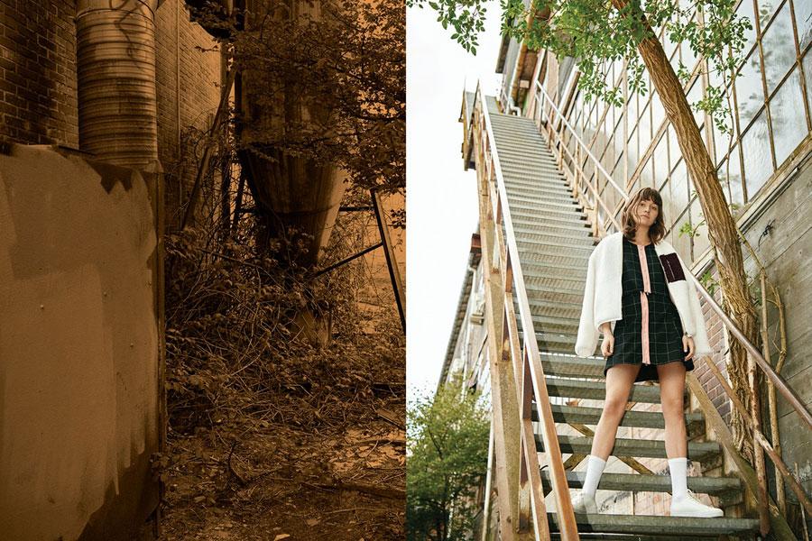 Champion x Wood Wood — dámský bílý kožíškový bomber — hřejivá bunda — černá sukně — černý top